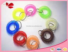 different colors elastic spiral plastic cheap key holder rings for promotional items