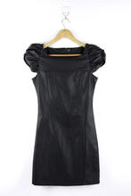 Womens Skinny Black PU Cap Sleeve Formal Dress
