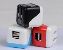 high quality 5V 2.1A dual usb mobile phone travel charger,home charger,wall charger