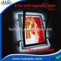 magnetic window led light pockets, hanging modern window display light box, magnetic poster frames for window
