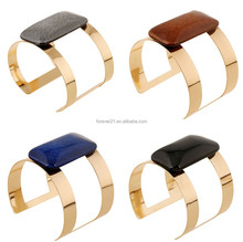 Wholesale Square Big Crack Resin Gold Hollow Indian Style Cuff Bracelet Bangle
