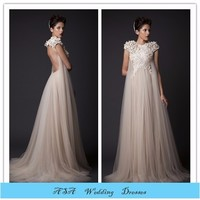 Vintage Champagne Lace bridal gowns Real photos Dress wedding mother of the bride Beach wedding dress for pregnant(YASA-2090)