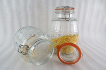 53oz round engraved glass airtight bottle with metal clip and rubber stopper