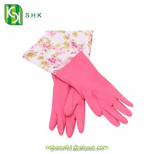 Pink long household rubber gloves / garden gloves