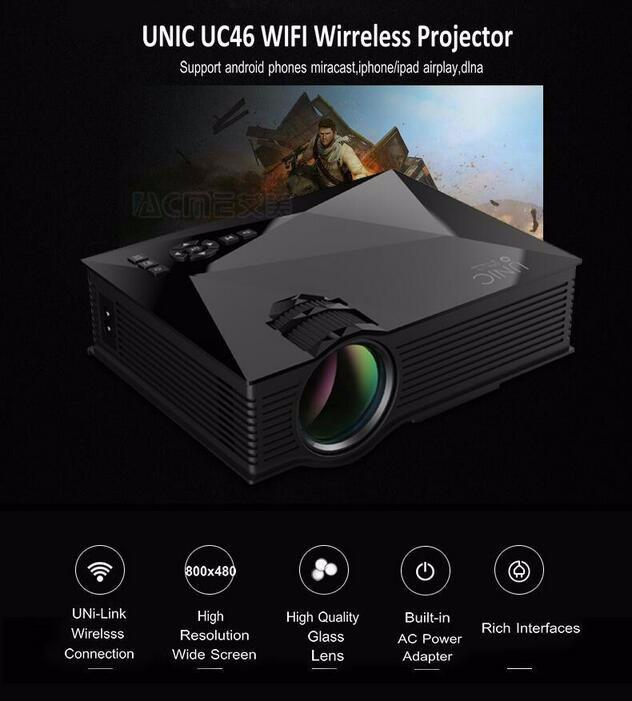 Fábrica Al Por Mayor UNIC UC46 1200 lúmenes Mini LED Portable WIFI Multimedias del Teatro Casero Proyector VideoUC46
