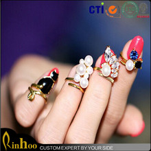 4pcs/set blue crystal black cat created pearls nail art rings women knuckle art deco ring