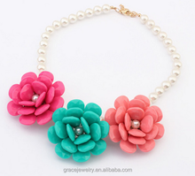 sweet and fresh holiday wear three resin flower philippines pearl jewelry for women