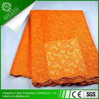 Wholesale african french net lace fabric with beads for women dress