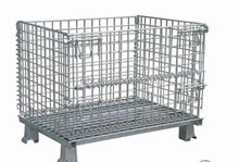 Galvanized or PVC coated steel wire mesh pallet basket