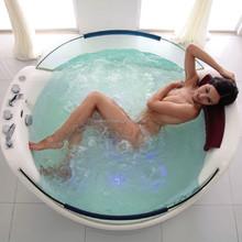 Latest Tempered Glass Panel Acrylic Round Freestanding Massage Bathtub (CA-F7085)