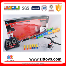 Toys Make in China 3.5 channel alloy r/c helicopter with toy EVA soft bullet gun