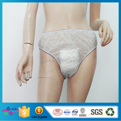 High Cut Maternity Women One Time Use Disposable Panties Flower With Leaves Printing Disposable Paper Panty With Cotton Pad