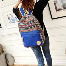Custom vintage tribal printed design canvas women school backpack bag