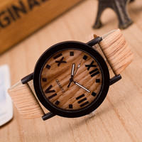 2015 New Arrive Wholesale Charm Unisex Alloy Retro Wood face Natural Watch