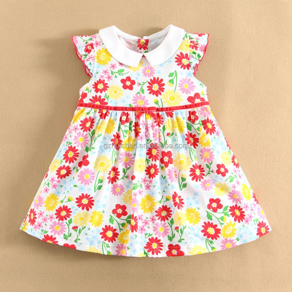 MOMANDBAB Short Sleeve BaBy Dress Cutting 100%Cotton Woven Summer Baby Dress Girls Baby Clothes Wholesale