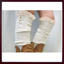 Over the Knee Winter Leg warmers, Lace knee high Boot Socks for Women, Button Knit Leg warmer Socks for Boots
