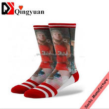 New fashionable custom wholesale OEM basketball 3D digital socks dye sublimation printing socks