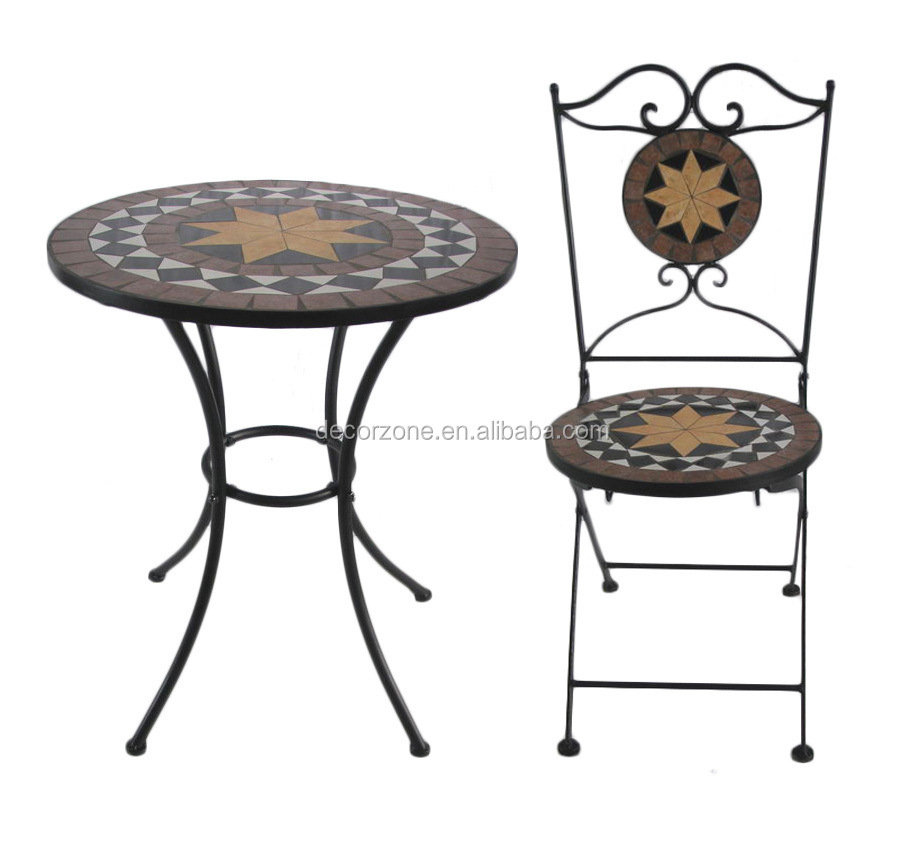 Meubles de jardin mosa que pierre table et chaise bistro for Table mosaic xl 6 chaises encastrables