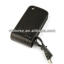 Solar Powered Leather Case for iPhone 3GS, Black High Quality