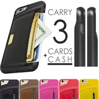 For iphone 6 plus 5.5 back covers with card slot, leather back cover for iphone 6 plus case