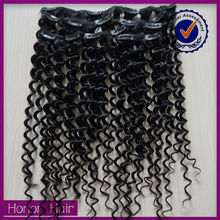 Fashion! wholesale kinky curly clip in remy hair extension short hair brazilian curly weave