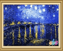 40*50cm night scenery oil painting, diy painting by number