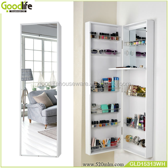Wooden Makeup Cabinet Furniture Free Standing Mirror Jewelry Armoire View Fu