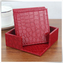 pu leather handmade pretty branded customised coasters