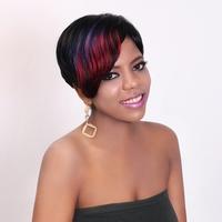 Free Shipping Cheap Reddish Highlight Short Brazilian Human Hair Wig For Black Women