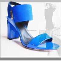 OU7 blue patent block heel middle age sandals shoes women