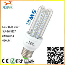 3U led lamp 5w 220/ 230/ 240VAC 50/60Hz E27 3014SMD 3U energy saving LED lamps(cfl)