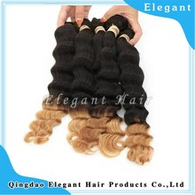 China factory high quality black and blonde two tone virgin brazilian loose wave hair weave