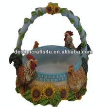 Chicken and Rooster Ceramic Hanging Basket