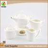 Bamboo style handle fine white ceramic modern japanese tea cup set