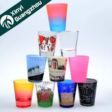 Fancy shaped 50ml custom print shot glass /drinking glass for promotin gift/glassware