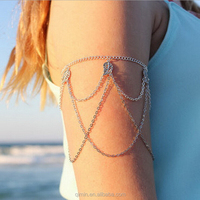 Punk Upper Armlet Body Jewelry Alloy Leaves Arm Chain Bracelet Bangle with Turquoise Bead Armlet For Women