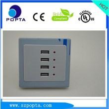 4 usb puerto de conmutación electrónica zócalo de pared 5v3a con luz led, 110-250v de entrada