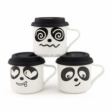 factory directly custom ceramic soup cartoon mugs with silicone lid and handle