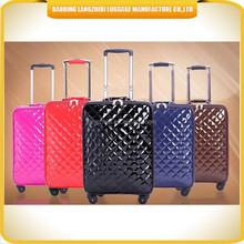 upscale quality men and women's PU suitcase aluminum trolley universal wheels leather suitcase