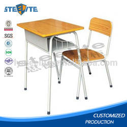 Smooth surface modern design comfortable combo school desk and chair for student