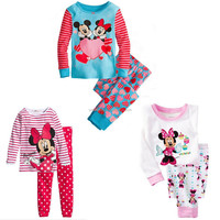 2014 Minnie Mickey Mouse Kids Girls Nightwear Pajamas Sleepwear Homewear Suit