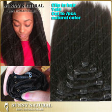 italian yaki clip in malaysian hair extension on clip human hair kinky straight clip in hair extensions for african american