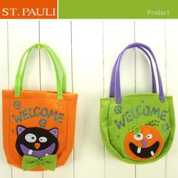 china factory sale eco-friendly flash power fabric halloween kids hand made felt bag
