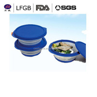 Safe To Use in Microwave, Oven, Freezer, and Dishwasher silicone collapsible bowl with lid FDA, LFGB Standard