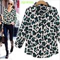 design leopardo impressão camisa de chiffon