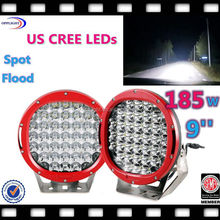 Super bright 9' inch LED Driving Lights 185w with Free Protective Covers or Flood Beam, 185w off road led work light for Car