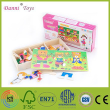 Wholesale Bear Changing Clothes Games Wooden Puzzle Toy