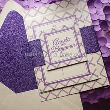 purple glitter wedding invitation cards with glitter envelop