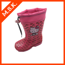 Cute cat sale waterproof Popular styles soft rubber fashionable children plastic rain boots