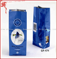 plastic coffee packaging bag with valve and side gusset